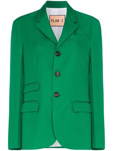 Зеленый однобортный пиджак с воротником Plan C