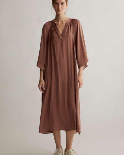 Коричневое прямое платье А-силуэта Oysho