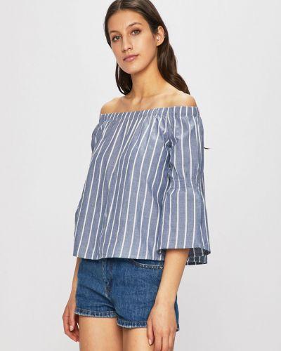 Блузка с открытыми плечами прямая синяя Review