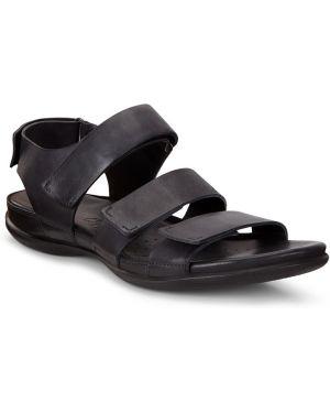 Кожаные черные сандалии на липучках с подкладкой Ecco