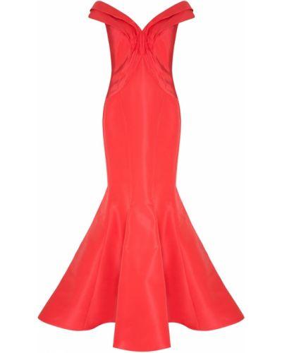 Брендовое шелковое красное платье макси Zac Posen