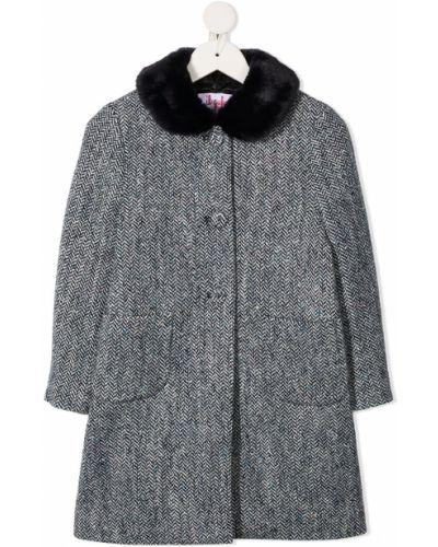 Прямое черное длинное пальто из искусственного меха Il Gufo