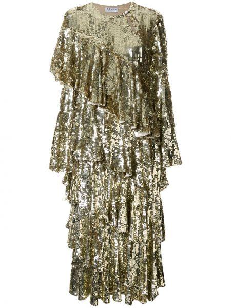 Złota sukienka midi rozkloszowana Osman