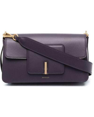 Фиолетовая с ремешком кожаная сумка-тоут Wandler