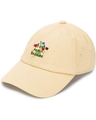 Beżowa czapka z haftem bawełniana Drole De Monsieur