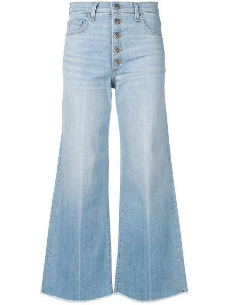 Хлопковые синие укороченные джинсы с карманами на пуговицах Veronica Beard