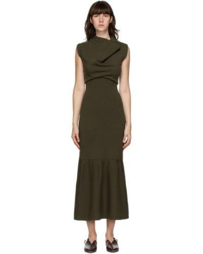 Шерстяное зеленое платье с воротником без рукавов 3.1 Phillip Lim