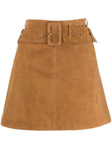 Плиссированная замшевая коричневая юбка мини с поясом Arma