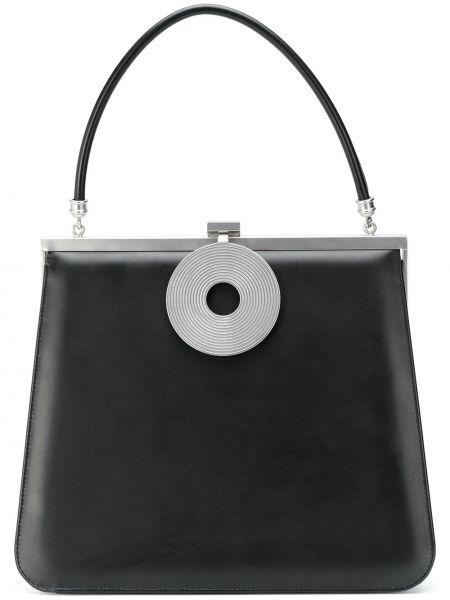Кожаная черная сумка-тоут с карманами Dorateymur
