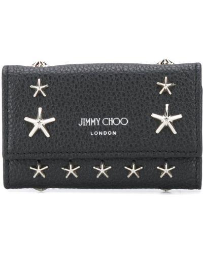 Czarny etui na klucze z prawdziwej skóry na hakach Jimmy Choo
