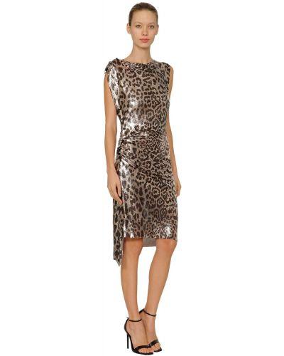 Платье миди на пуговицах леопардовое Paco Rabanne