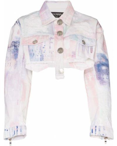 Джинсовая куртка длинная серебряная Balmain