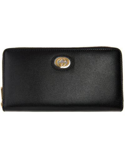 Czarny portfel na monety z prawdziwej skóry z gniazdem prążkowany Gucci