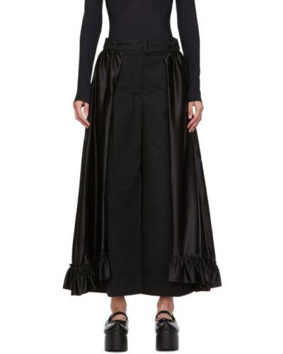 Сатиновая черная юбка с оборками с поясом Simone Rocha