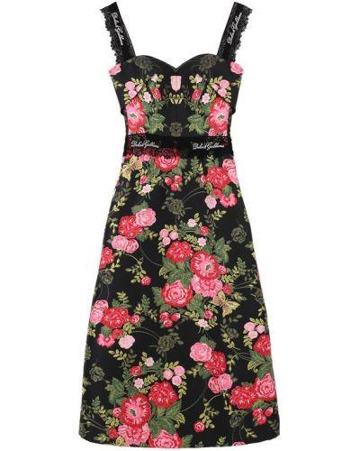 Платье миди в полоску на бретелях Dolce & Gabbana