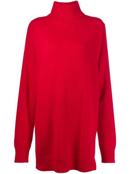 Красное нейлоновое платье оверсайз в рубчик Frenken