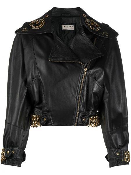 Черная кожаная короткая куртка байкерская A.n.g.e.l.o. Vintage Cult