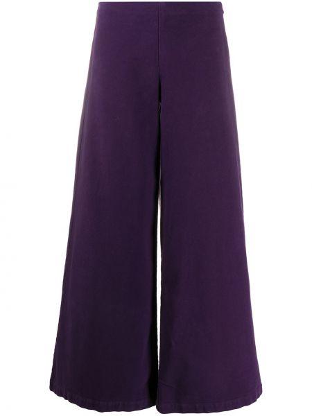 Хлопковые брючные фиолетовые расклешенные брюки Stefano Mortari