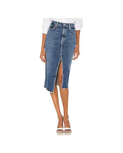 Хлопковая синяя джинсовая юбка на молнии с разрезом Citizens Of Humanity