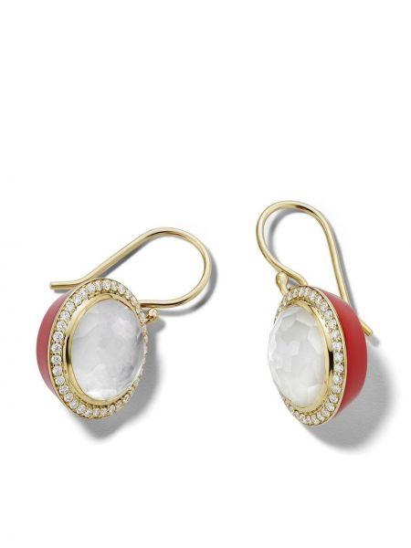 Золотые серьги золотые с бриллиантом круглые Ippolita