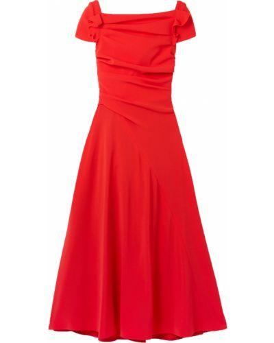 Платье миди с подкладкой с оборками из крепа Talbot Runhof