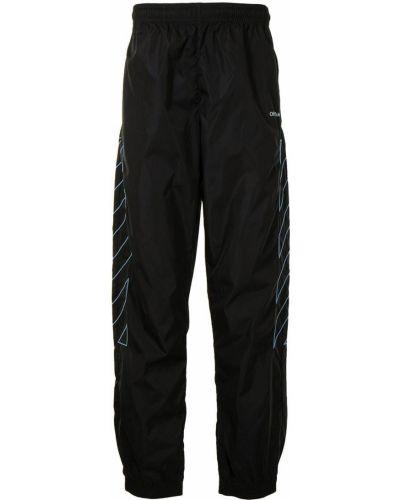 Czarny spodnie z paskami z mankietami Off-white
