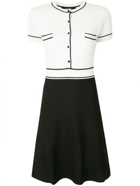 Черное платье с манжетами с карманами с короткими рукавами Paule Ka
