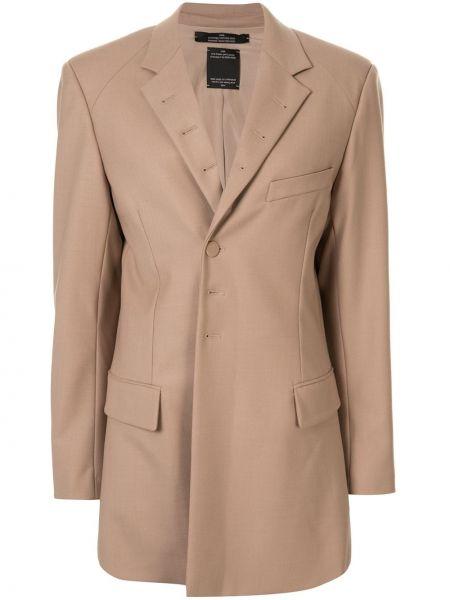 Шерстяной коричневый пиджак с карманами Rokh