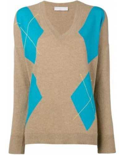 Пуловер с V-образным вырезом бежевый Giada Benincasa
