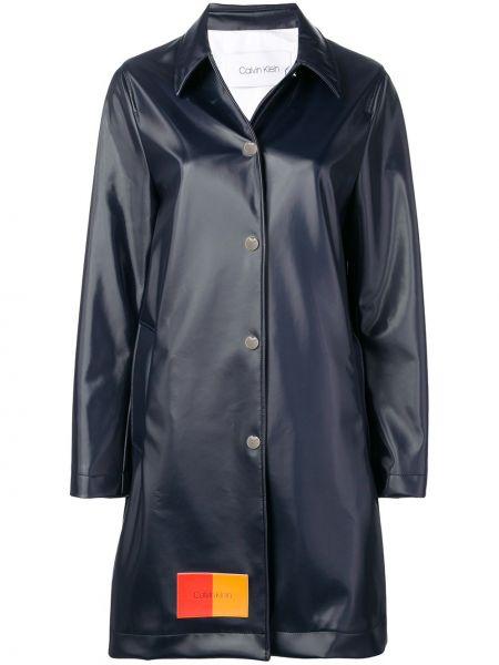 Прямое синее длинное пальто с капюшоном Calvin Klein
