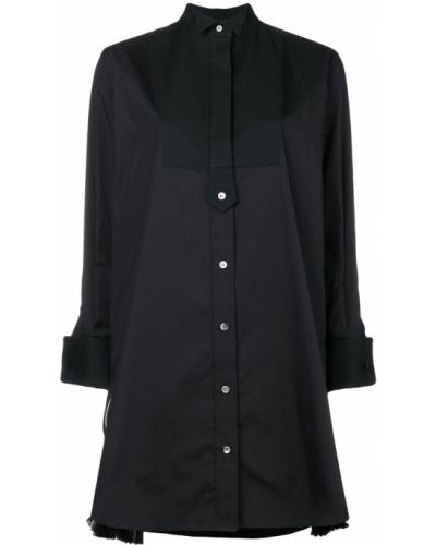 Рубашка с длинным рукавом свободного кроя черная Sacai