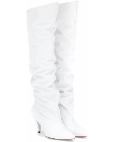 Białe kozaki na obcasie skorzane Givenchy
