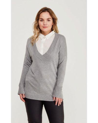 Серый пуловер Violeta By Mango