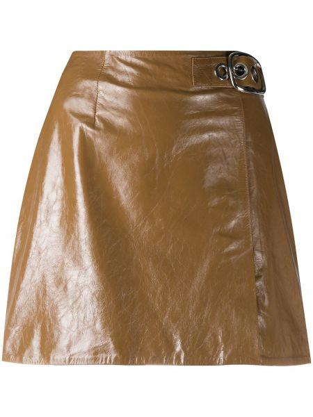 Коричневая кожаная юбка мини с пряжкой Alexa Chung