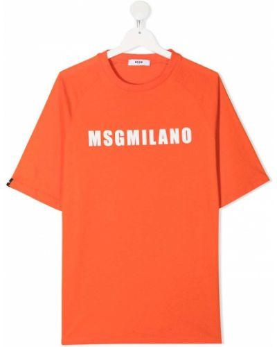 Прямая черная футболка с вырезом Msgm Kids