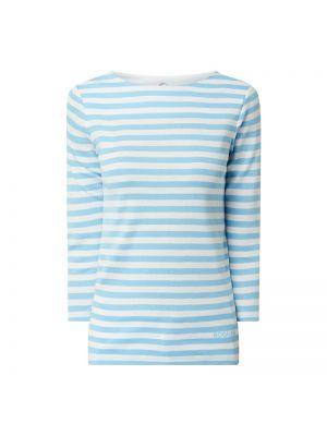 Bluzka w paski bawełniana turkusowa Bogner