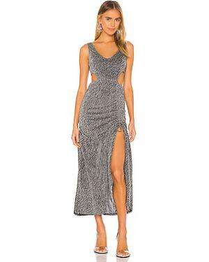 Серебряное платье макси с люрексом с вырезом Kendall + Kylie