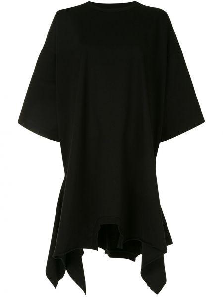 Z rękawami bawełna czarny asymetryczny sukienka z rękawem Mm6 Maison Margiela