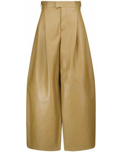 Зеленые кожаные брюки свободного кроя Bottega Veneta
