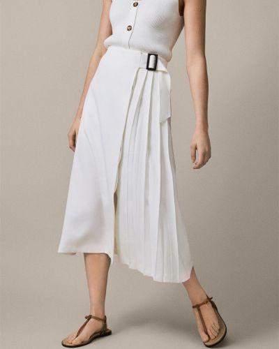 Белая плиссированная юбка Massimo Dutti