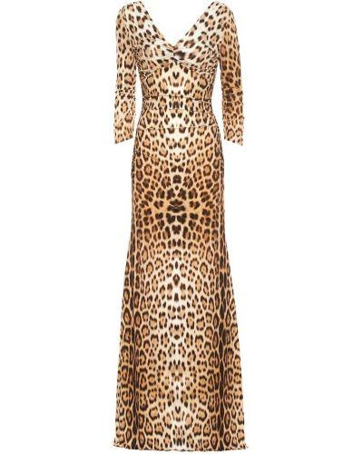 Платье макси леопардовое классическое Roberto Cavalli
