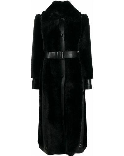 Черная длинная шуба на пуговицах из вискозы Stella Mccartney