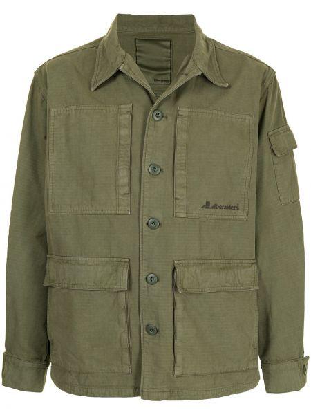 Зеленая ватная длинная куртка с воротником Liberaiders
