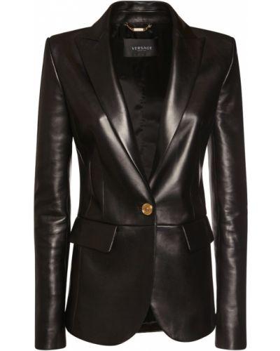 Черная кожаная куртка с карманами Versace