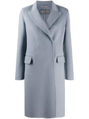 Синее шерстяное пальто классическое двубортное Alberta Ferretti