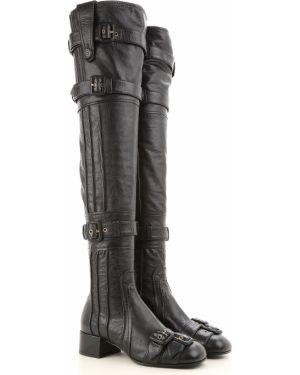 Wysoki buty czarne na wysokości Prada