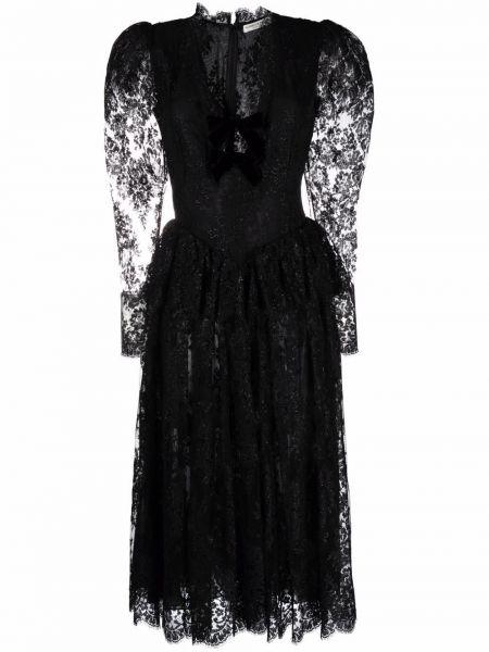 Шелковое платье миди - черное Alessandra Rich
