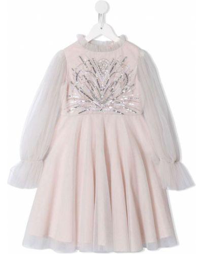 Хлопковое расклешенное розовое платье с рукавами с пайетками Tutu Du Monde