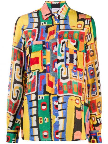 Желтая классическая рубашка с манжетами с воротником на пуговицах Stella Jean
