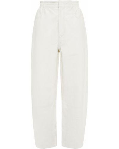 Białe spodnie skorzane Mm6 Maison Margiela